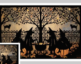 Halloween Card,  4 witches, Halloween Party, Black Cat, Halloween, Vintage Halloween, Childs Card,  invitation