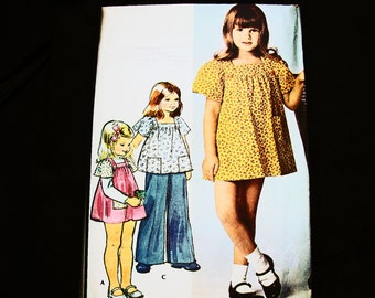 1970s Girls Dress Pattern UNCUT size 5 Little Girls Dress or Top and Pants Vintage Pattern 70s