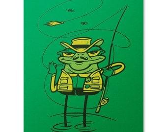 Frog Art Print / Fishing Print / Fly Fishing Print / Cute Frog Wall Art / Fishing Pole Print / Home Decor / 8 x 10