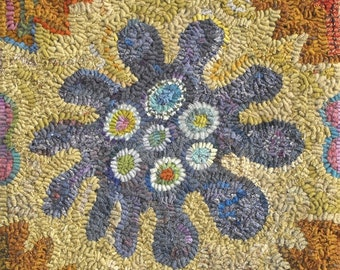 Passionflower rug hooking pattern