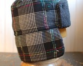 Furry Russian XL: winter sherpa earflap hat in fun black, turquoise, and pink plaid wool tweed