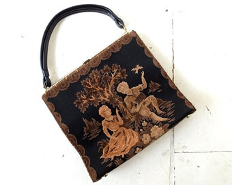 Vintage Tapestry Bag | 1960s Purse | Velvet Purse | Oversized Purse