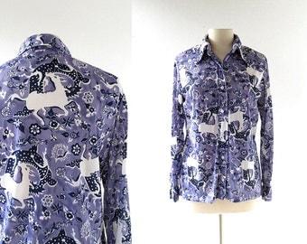 Vera Neumann Blouse / Horse and Dragon Print Blouse / 1970s Shirt / Large L