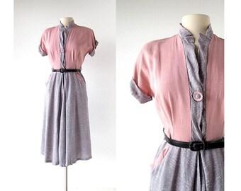 1950s Day Dress / Pink and Gray Dress / 50s Dress / S M