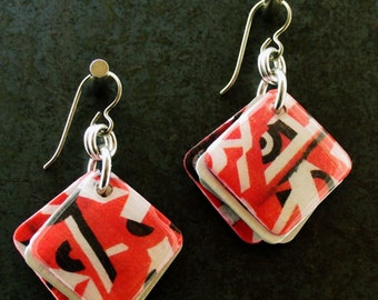 Red Square Earrings Ready to Ship