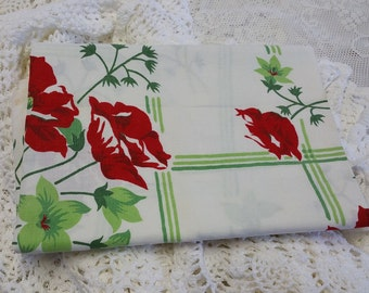 TCC012 ~ Christmas fabric Vintage tablecloth Red flowers Green stripes CUTTER tablecloth