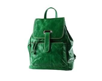 SALE - Green Leather Backpack, Large, Women, Rucksack, artoncrafts