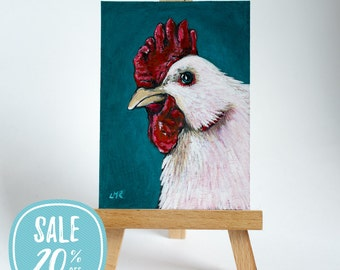 ON SALE | Original ACEO White Chicken Rooster Hen Bird Art by Lisa Marie Robinson