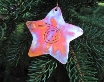 Shooting Star Holiday Decoration, Rustic Copper Christmas Ornament, Hammered Metal Xmas Keepsake