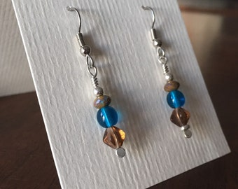 READY TO SHIP: Brown & Blue Glass Bead Earrings, Earth Tones, Faceted and Round Glass Beads with Sterling Silver, Handmade Dangle Earrings