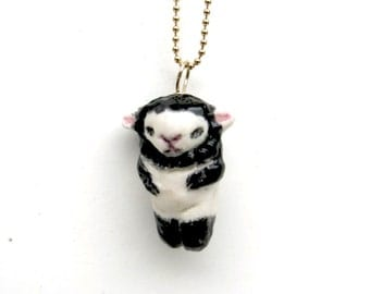 Lamb Black Sheep  Ceramic Cute White Porcelain Necklace Sterling Silver Vermeil Chain