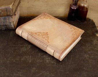 Leather Journal / Notebook, Natural Romantic Look, Floral Decoration