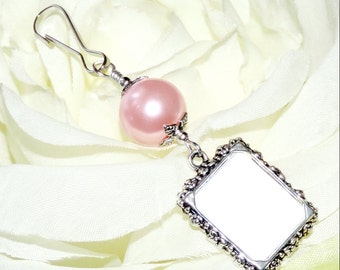 Wedding bouquet photo charm. Pink, White, ivory, gold or blue pearl photo charm. Handmade wedding keepsake. Gift for the bride. Memory photo