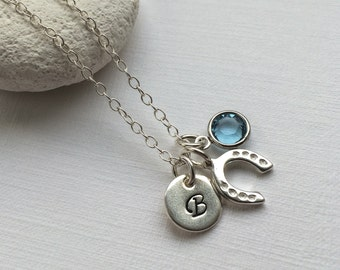 Personalized Horse Shoe Necklace - Personalize birthstone silver necklace, Lucky Horse Shoe Necklace