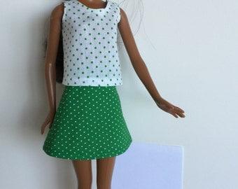Handmade Barbie Clothes Green Dot A-line SKIRT ONLY Mix n Match Designs by P D Reneau