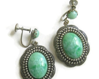 Vintage Filigree and Green Art Plastic Dangle Earrings
