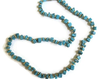 Faux Turquoise Chips Necklace Vintage