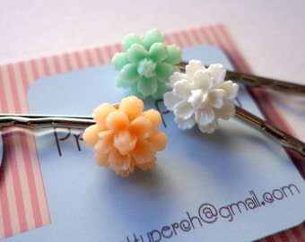 Flower Hairpin Trio Bobby Pins (peach, mint, white)