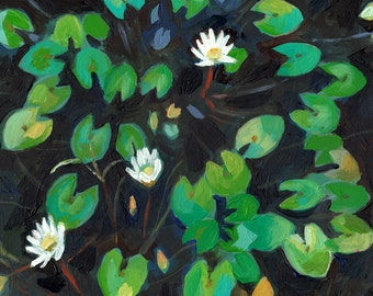 The Water Lilies-  original painting -acrylic painting - sea painting - people painting - ART PORTRAIT