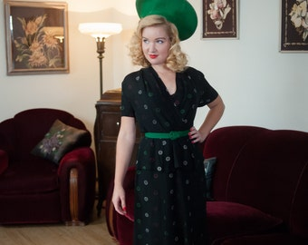 Vintage 1940s Dress - Stunning Black Rayon Peplum 40s Dress with Neon Green, Pink and White Polka Dots