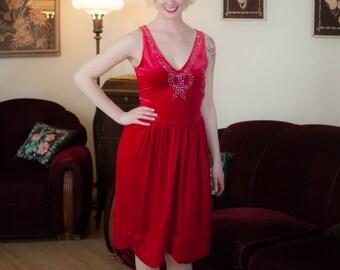Vintage 1920s Dress - Sensational Crimson Red Cotton Velveteen 20s Flapper Dress with Studded Rhinestone Bow & Gold Lamé Lined Scalloped Hem