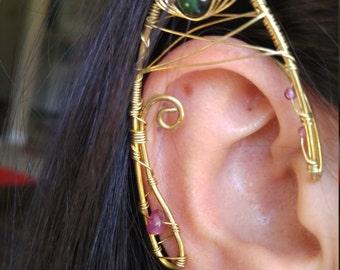 Brass Elf ear earcuff pair w/ gemstones and unique wire work Elf Ears, Elvish, Elven Ears, Pixie Ears, Fairy Ears