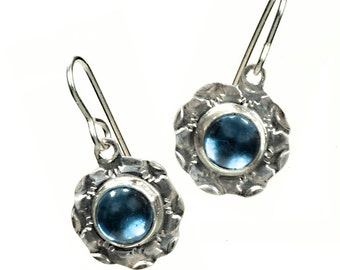 Southwest stamped silver earrings, Western silver dangle earrings with vintage sapphire blue cabochons