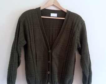 239 - Vintage 80s Forest Green Cardigan - Size M