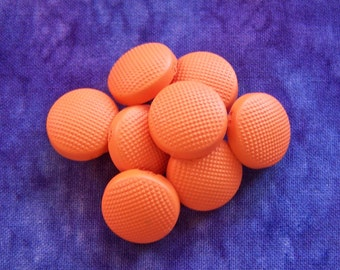 Neon Vintage Sewing Buttons 16mm - 5/8 inch Tangerine Orange Retro Mod Buttons - 8 VTG NOS Pebbled Satin Matte Plastic Shank Buttons PL329