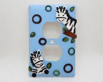 Zebra Light Switch or Outlet Cover - Nursery, Children's, Jungle
