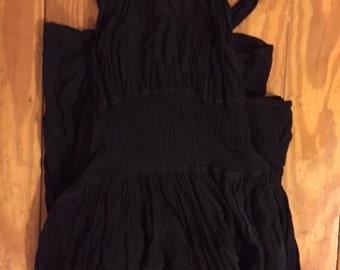 Vintage GHOST Dress Black Crepe Cross-strap Shirred Waist Mini