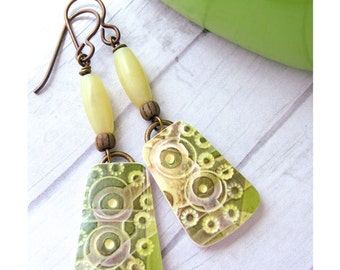 Polymer Clay Earrings Jewelry featuring a Circle Boho Design in Olive Green, Lime Green, Yellow Green and White