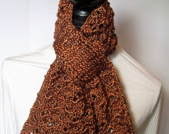 Bronze Scarf, Gift for Her, Winter Scarf, Fall Scarf, Brown Scarf, Crochet Scarf, Crochet Scarves, Bronze Crochet Scarf, Bronze Crochet