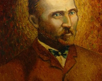 Oil Painting of Vincent Van Gogh in Ornate Antique Frame