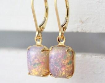 Opal Earrings, Vintage Fire Opal Earrings, October Birthstone Earrings, Womens Gift, Harlequin Opal Earrings, Glass Opal Earrings