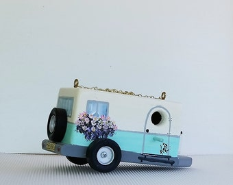 Retro Aqua and Ivory Pull Trailer Birdhouse , Handcrafted , Hand Painted
