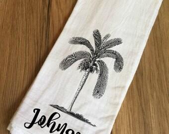 Personalized Palm Tree Decorative Flour Sack Towel