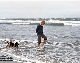 Robert F. Kennedy, BOBBY In SURF, Oregon Coast, May 24, 1968, Clyde Keller Photo, Fine Art Print, Color, Signed, Treasury