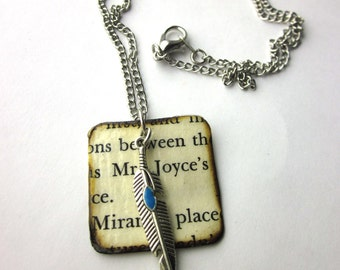 Book page necklace, literary necklace, book jewelry, arrow charm necklace, Eye Of Love