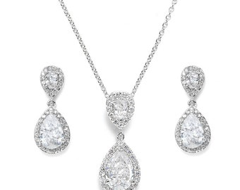 Bridal jewellery set wedding crystal teardrop silver jewellery set pendant necklace drop earrings vintage style bridal necklace