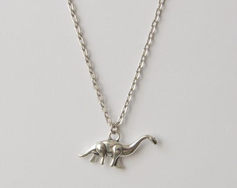 Silver Dinosaur Necklace, Longneck Dinosaur, Dinosaur Jewellery, Unisex Necklace, Cute Dinosaur Jewellery, Antiqued Silver Neck