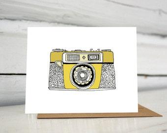 Yellow Vintage Agfa Optima Camera Illustration Greeting Card