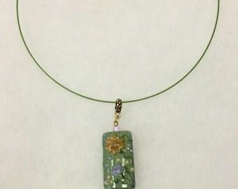 Choker Necklace w/Sage Green Floral Lampwork Pendant