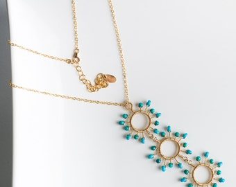 Liana Necklace: Long Multi Starburst Gemstone Pendant w/ Turquoise, Blue, Aqua, Green, Bright, Intricate, Large, Sun, Dramatic