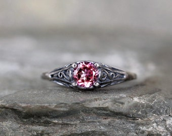 Pink Topaz Ring - October Birthstone Ring - Antique Style Topaz Ring - Dark Sterling Silver - Pink Gemstone Rings - Filigree Ring