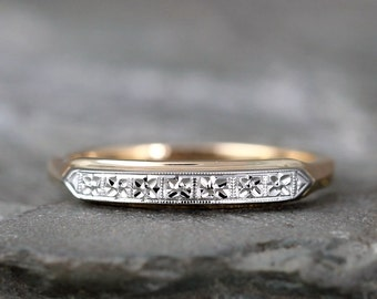 Vintage 14K  Gold Wedding Band  or Anniversary Band Circa Early 1960's - Retro Wedding Band - Mid Century Wedding Ring