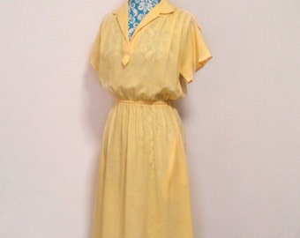 vintage 1970's dress // yellow preppy shirtdress // 70's Spring Summer fashion