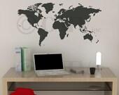 World Map Chalkboard vinyl lettering wall saying decal sticker