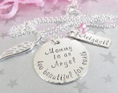 Hand Stamped Memory Necklace - Mom of an Angel - Memorial Jewelry - Miscarriage Necklace - Remembrance Jewelry - Sterling Silver