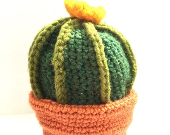 Barrel Cactus with Orange Flower Plushie // Fake Crochet Plant Amigurumi